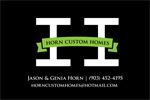 Short Track Shootout Sponsor - Horn Custom Homes.  Thank you for your support!