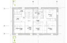 Plan étage. L'étage est scindé en deux parties, il est relié par un espace commun qui servira d'aire de jeux et de bureau. D'un côté se trouve la suite parentale et de l'autre les chambres des enfants.