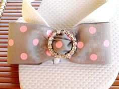 Items similar to Flip Flops - Gray Ribbon with Pink Dots Rhinestone Buckles - Taylor on Etsy