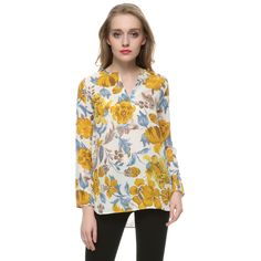 Mujeres amarillo floral gasa blusas vintage V cuello de manga larga blusa…