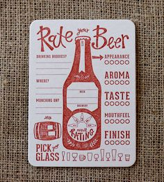 Rate Your Beer Letterpress Coasters
