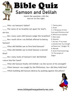 Printable bible quiz: Samson and Delilah | FREE download