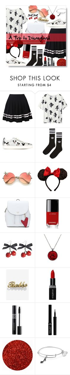 """""""a Trip to Disneyland"""" by lilpigzy ❤ liked on Polyvore featuring Uniqlo, MOA Master of Arts, adidas, Disney, Chanel, Smashbox, Christian Dior, Giorgio Armani and Alex and Ani"""