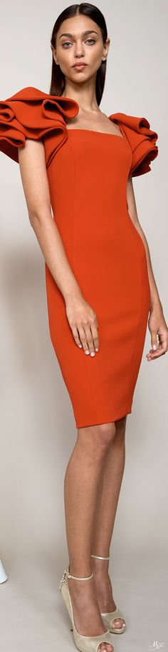 Resort 2018 Badgley Mischka High Fashion, Fashion Show, Fashion Outfits, Womens Fashion, Classy Fashion, Fashion Trends, Fashion Week 2018, Orange Fashion, Badgley Mischka