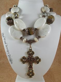 Christian Cowgirl Necklace Set Chunky White Buffalo Turquoise & Golden Brown Tiger Eye by Outwestjewelry