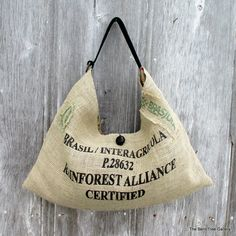 Slouchy Burlap Hobo Bag from Recycled Coffee Bean Sack OOAK by The Bent Tree Gallery I used the brightest boldest lettering I could find for