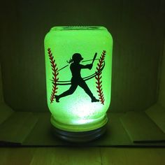 Softball is more then a sport, its a lifestyle. This softball nightlight makes a perfect Softball gift for the player in your life. Available in three colors and a lovely glow to the room of your softball pitcher with this mason jar night light. Softball Decorations, Softball Crafts, Softball Bows, Softball Shirts, Softball Players, Fastpitch Softball, Softball Stuff, Softball Quotes, Golf Quotes