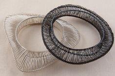 Kathy Frey - Riverstone Bangle, wire wrapped organic form bracelet, silver or oxidized - 650$ each
