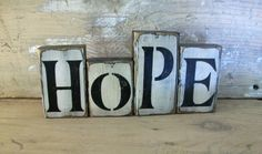 Hey, I found this really awesome Etsy listing at https://www.etsy.com/listing/183600923/primitive-wood-blocks-hope-wood-blocks