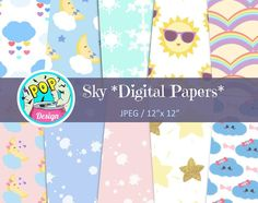 Sky digital papers package Available >>>http://etsy.me/2ue7qaY #Etsy #digitalpapers #digitalarts #cardmaking #partydecor #party #partyprintable #kids #babyshower #instagood #prints #sunny #cute #kawaii #sky #weather #diy #diyinvitations #pattern #scrapbooking #rainbow #moon #handmade #design #illustrations