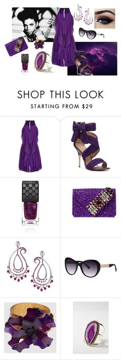 """""""Purple Tears"""" by tropicalhaven ❤ liked on Polyvore featuring City Chic, Paris Hilton, Gucci, GEDEBE, Ardell, Madhuri Parson, Balmain, Marni, Forever 21 and plus size clothing"""
