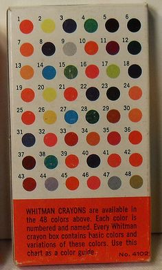 1960s Whitman crayon box (back). Loved all the Whitman color by number pictures!