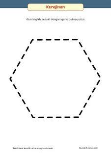 kerajinan anak, pola belajar menggunting untuk balita/TK, bentuk segi enam