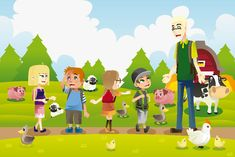 Buy Kids on a Field Trip to a Farm by artisticco on GraphicRiver. A vector illustration of a group of kids on a field trip to a farm with their teacher. Cow Drawing, Cartoon Chicken, Student Teacher, Livestock, Children, Kids, Pikachu, Family Guy, Clip Art