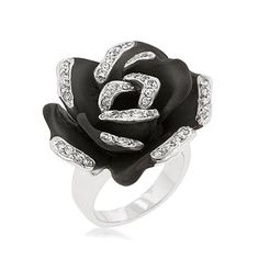 Valentines Day Gifts Bling Jewelry Cubic Zirconia Charcoal Black Rose Flower Cocktail Fashion Ring Bling Jewelry. $49.99. Pave cz accents. Matte black enamel. Black rose cocktail ring. Weighs 16 grams. Rhodium plated brass