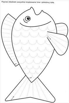 Tracing or cutting Preschool Writing, Free Preschool, Preschool Learning, Kindergarten Worksheets, Worksheets For Kids, Learning Activities, Preschool Activities, Rainbow Fish, Kids Education