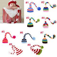 זול פס חמוד כובעי זנב ארוך אבזרי צילום תינוק בן יומו בעבודת יד להפוך Photoes…