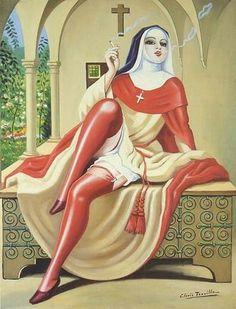 Clovis Trouille - Religieuse italienne fumant la cigarette - 1944
