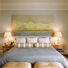 wide artwork over the bed.  room designed by Patrice Bevan Cowans, via Desire to Inspire.