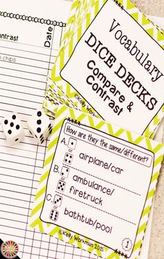 Looking for ideas to increase engagement with your students? DICE DECKS interactive task cards teach specific skills while keeping their attention! Great for individual, small group (speech therapy, RTI, etc.), or even whole-class learning. Click to view this Compare and Contrast vocabulary set!