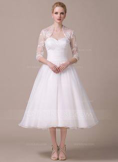 [CA$ 181.93] Forme Princesse Bustier en coeur Longueur mollet Organza Robe de mariée avec Plissé