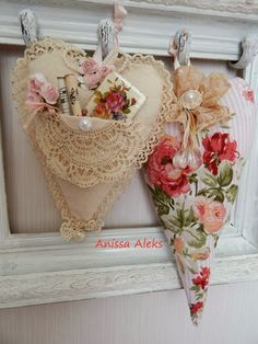 Shabby Chic hearts lace floral