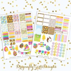 NEW!!! DIY You Crack Me Up Easter Printable Planner Stickers Mini Kit 125 Stickers pdf 2 jpeg Erin Condren Life Planner Kikkik Filofax