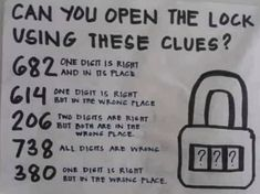 In this viral logic puzzle, you have to open a lock using five numerical clues. Here's how to solve the riddle that's stumping the internet. Logic Questions, Tricky Questions, Common Core Reading, Literature Circles, Logic Puzzles, Context Clues, Reading Response, Math Class, Brain Teasers