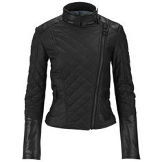 Knutsford Women's Leather Trim Wax Cotton Biker Jacket - Black: Image 1