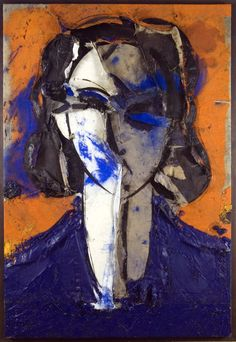 "Manolo Valdes - Pop Art -""Portrait on Orange Background"" (""Retrato con fondo naranja""), 2007 Spanish Painters, Spanish Artists, Abstract Portrait, Abstract Art, Pop Art, Arte Pop, Art Graphique, Face Art, Artist Art"