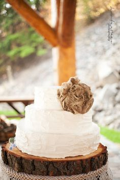 Burlap Flower Cake Topper and Rustic Natural Wood Cake Base by paintTHEWORLDwhite