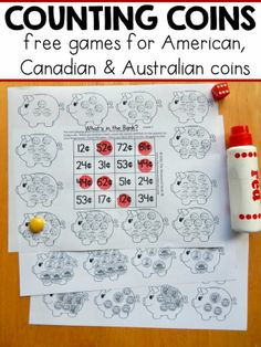 money games for - with American, Canadian, and Australian coins 12 free money games for in America, Canada and Australia! These no-prep games are perfect for kids learning to count coins. Just print and play!American American(s) may refer to: Money Games Free, Counting Money Games, Money Math Games, Money Games For Kids, Money Activities, Counting Coins, Free Money, Free Games, Learning Money