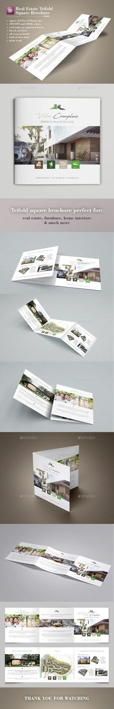 Real Estate Square Trifold Brochure Template InDesign INDD