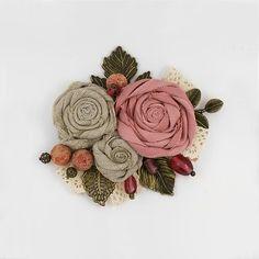 Flower Fabric  Brooch  Pastel Linen Rose Flower Pin Brooch