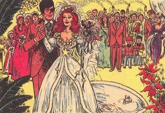 Panel from Brenda Starr Reporter comic strip featuring character Brenda Starr marrying longtime beau Basil St. John, published by The Chicago Tribune, United States, 1976, by Dale Messick.