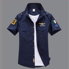 Summer Army Military Pilot Shirts Men Embroidery Summer Casual Cotton Air Force One Camisa Masculina Short Sleeve Shirt Men Camisa Polo, Slim Fit Khakis, Military Shorts, Military Men, Shirt Embroidery, Look Cool, Shirt Style, Men Dress, Casual Shirts
