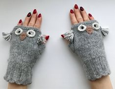 A personal favourite from my Etsy shop https://www.etsy.com/listing/507272277/owl-knitted-fingerless-gloves-owl-gloves
