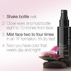 So you got your hands on our coveted new Mary Kay® Makeup Finishing Spray by Skindinävia®, huh? Here are some tips on how to use it to give your look staying power to last for hours!