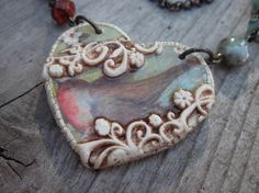 Necklace Robin Heart in Polymer Clay Necklace. $42.00, via Etsy.    From Marie-Noel Voyer-Cramp