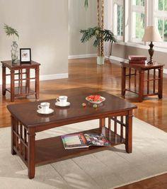 galiana brown marble top coffee/end table set 80068-set | coffee