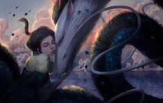 Spiried Away Fan Art by Jlandeaux Best Ghibli Movies, Studio Ghibli Movies, Grave Of The Fireflies, Chihiro Y Haku, Kohaku, Manga Cute, Fantasy Pictures, Popular Anime, Howls Moving Castle