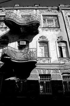Art Nouveau balconies on Roma street Tbilisi