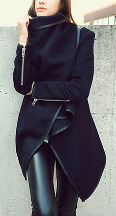 Street styles | Edgy Black Wool and Leather
