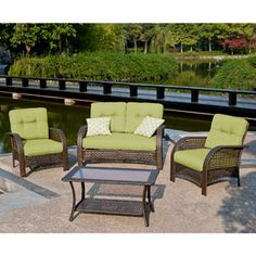 Not bad for a smaller budget.  Mainstays Sienna 4-Piece Wicker Conversation Set, Seats 4