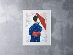 Japanese Woman Print, 12 x 16, Oil Painting, Original Art, Kimono Painting, Japan Art, Cherry Blossom Painting, Red Parasol Art by CFineArtStudio on Etsy