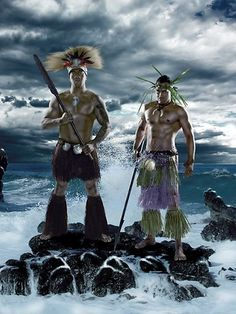 Cook Islands - Tinirau Arona, Keith Lulia in their Niu Warrior attire for the Niu Warrior exhibition