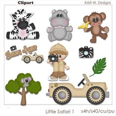 DIGITAL SCRAPBOOKING CLIPART - Little Safari 1