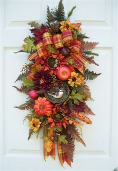 Fall Swag (Wreath Alternative) Holiday Decorating http://www.timelessfloralcreations.com/