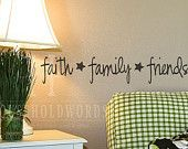 Faith Family Friends vinyl wall decal words Primitive Decor wall letteringe Country Prim stars, Home decor, living room, kitchen, Dining