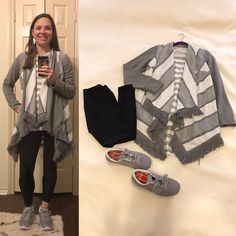 Gray and white draped cardigan, Gray and white striped LuLaRoe Irma Tunic, Black LuLaRoe leggings, Gray Brooks Chariot Sneakers